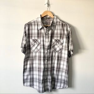Brody Grey/White Plaid Short Sleeve Button Down